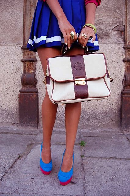 love.: Outfits, Fashion, Style, Skirts, Colors, Design Handbags, Royals Blue, Blue Shoes, Leather Bags