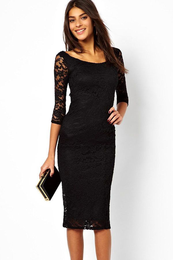Robes Midi Pretty Lady Noir Lace Evening Robe Overlay Pas Cher www.modebuy.com @Modebuy #Modebuy #Noir #robes #me