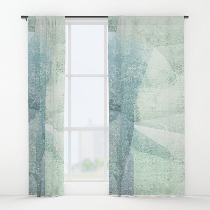 Frozen Geometry - Teal & Turquoise Window Curtains by dominiquevari | Society6  #homedecor #curtains #windowcurtains #interiors #abstract Frozen #pattern #geometry #frozen #concrete #teal #mintgreen #dominiquevari #society6