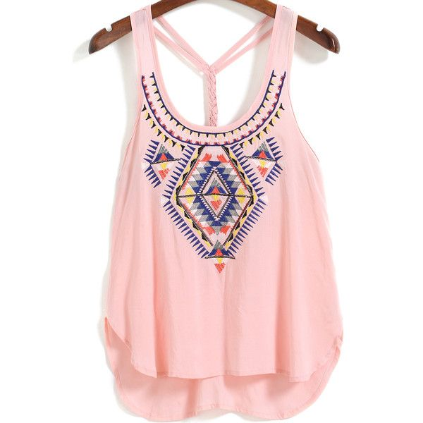 Romwe Straps Embroidered Pink Cami Top ($12) ❤ liked on Polyvore featuring tops, pink, embellished tank tops, vest top, strappy tank top, pink cami and cami tank tops