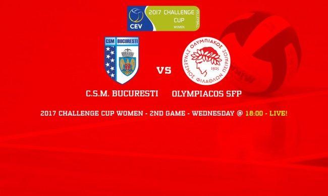 11/01/2017. CEV Challenge Cup Women 2016-17. Sala De Sport ELITE. CSM Bucuresti - Olympiakos SFP 0-3 (Φάση των 16).