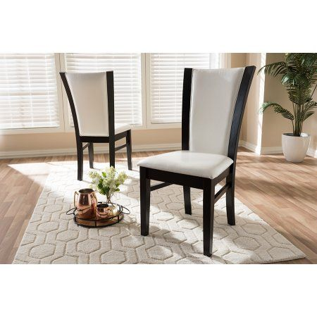 Set Of 2 Baxton Studio Adley Modern And Contemporary Dark Brown Finished White Faux Leather Dining Chair Set Size 20 87 Inchlarge X 19 49 Inchw X 38 39 Inchh In 2019 Faux Leather
