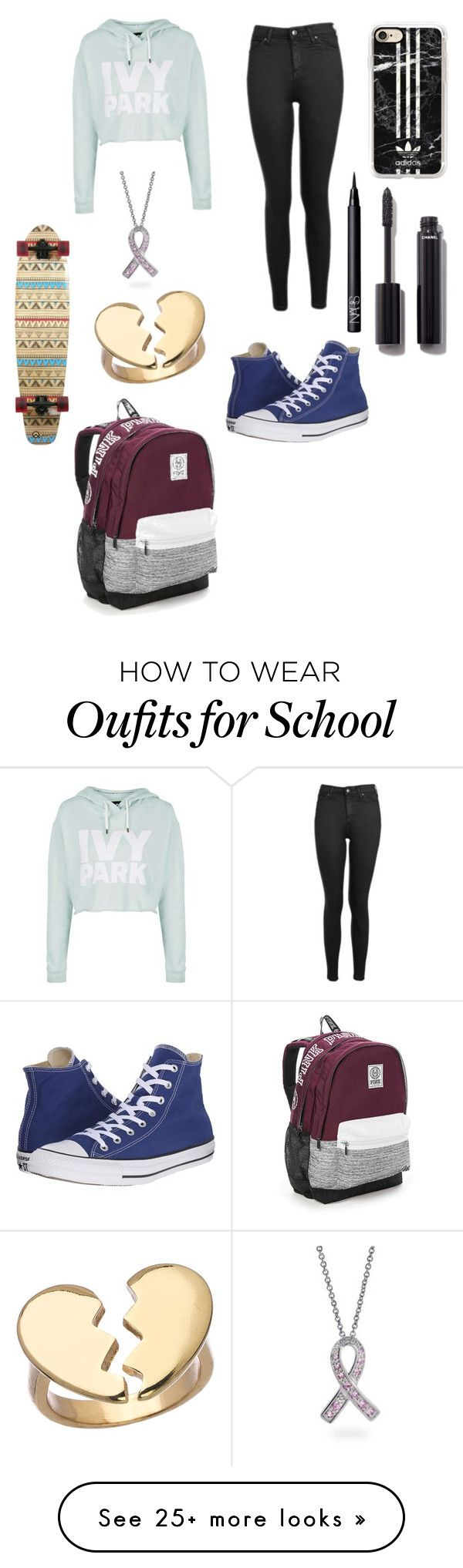 """Home from school"" by marythecheery on Polyvore featuring Topshop, Casetify, Converse, Bling Jewelry, Blu Bijoux, Chanel, NARS Cosmetics and Victoria's Secret"