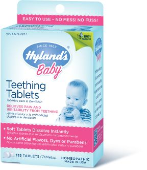 Hyland's  Baby Teething Tablets. Why use pain meds every time when natural products are available.