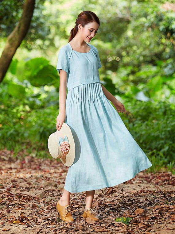 tunic dress, maxi linen dress, pale blue dress, linen sundress, bridesmaid dress, day dress. cocktail dress, prom dress, long linen dress