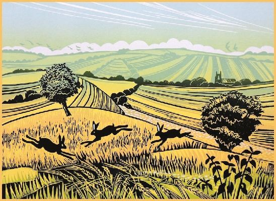 Field Chasers - Linocut by Rob Barnes. http://www.robbarnesart.co.uk/ Tags: Linocut, Cut, Print, Linoleum, Lino, Carving, Block, Woodcut, Helen Elstone, Landscape, Trees, Animals, Sky