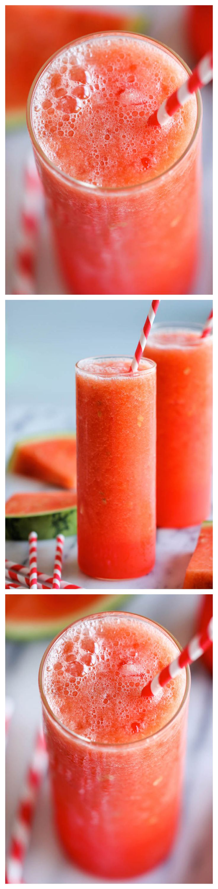 Watermelon Slush - this comes together in just 5 minutes with only 3 ingredients. | DamnDelicious.net | #summer_drinks #cocktail_recipes