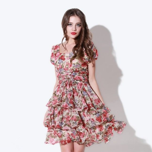 Newly Elegant Floral Short Sleeve Chiffon Dress Red Yellow
