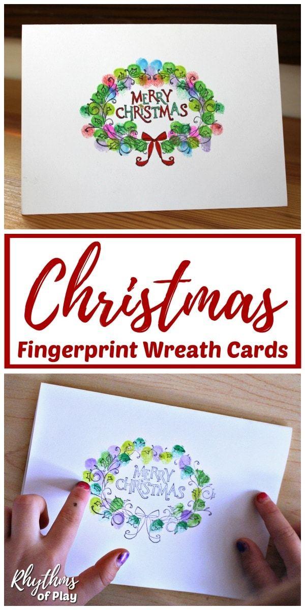 Fingerprint Christmas Wreath Cards Rhythms Of Play Homemade Christmas Cards Fingerprint Art Cards