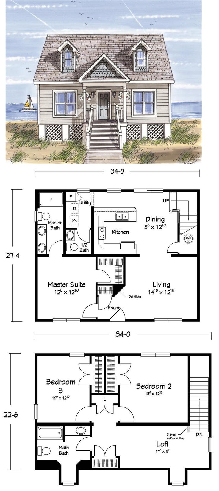 8 best cape cod plans images on pinterest floor plans for Small cape house plans