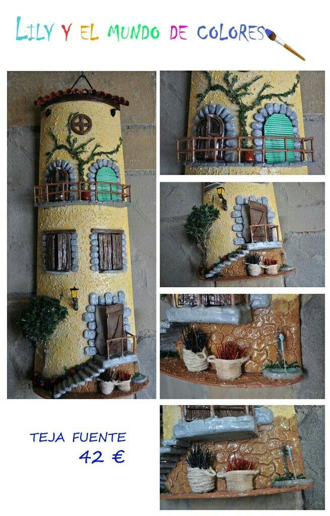 teja decorada hecha a mano
