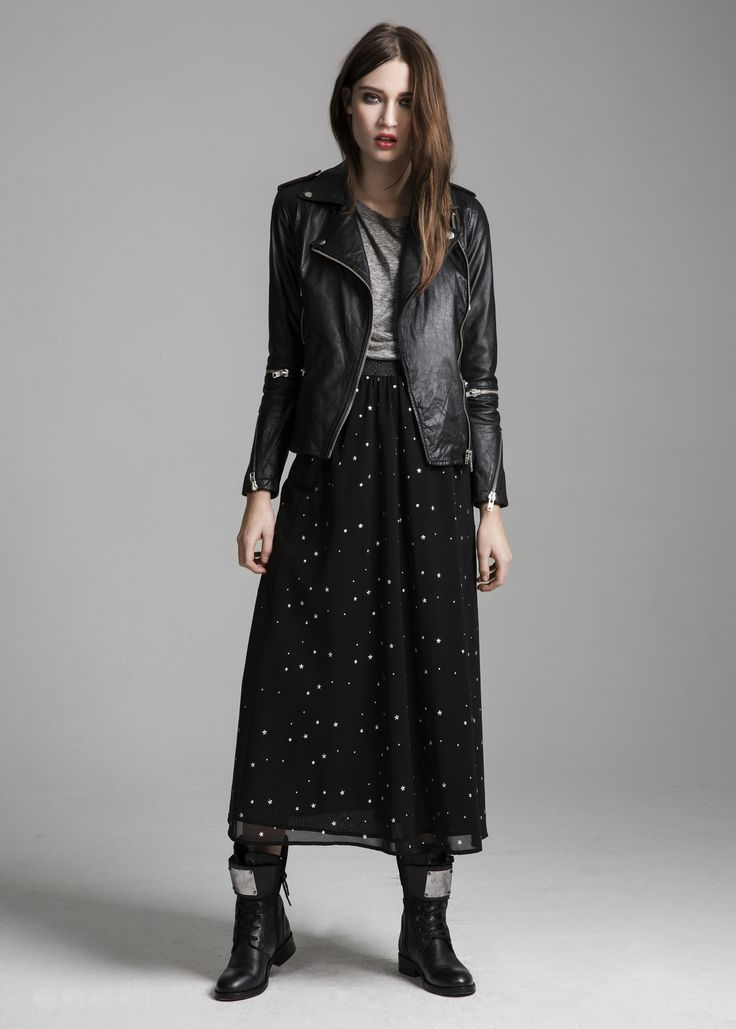 Jefferson jacket, Toby top, Salvador skirt & Melody boots #Jefferson #jacket #Toby #top #Salvador #skirt #Melody #boots #AW14 #Lookbook #SuperTrash