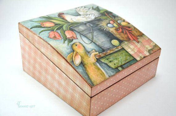 Handmade Wooden Tea Box Easter eggs rooster and bunny by WoodyGift