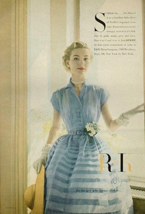 Model in a blue summer dress by R&K Originals, 1950s.