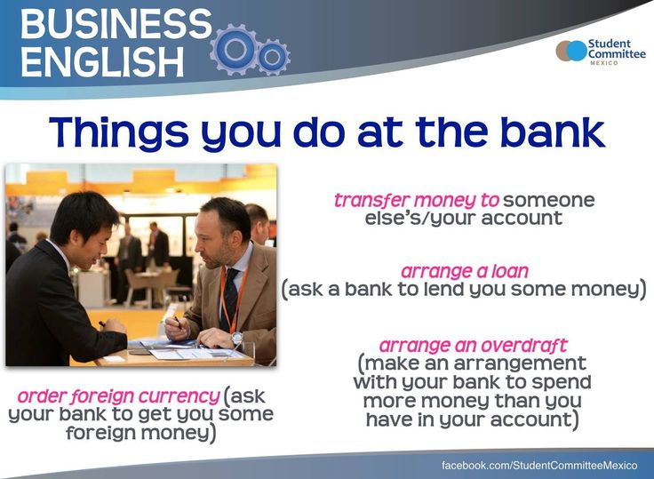 ' Things you do at the bank ' BUSINESS ENGLISH