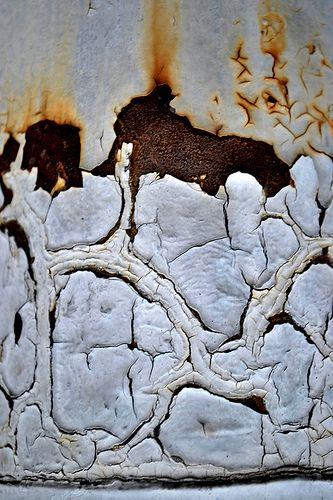 "Abstract Urban Decay Photography ""Subterranean"". Closeup view of chipped paint and rust textures."