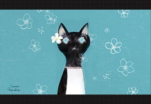 豆星-マンデリン-プルメリアと黒猫