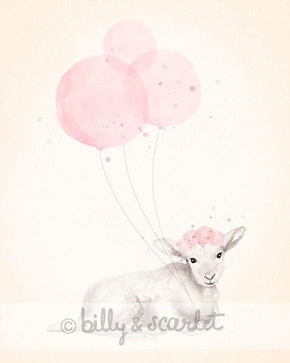 8x10 Print Baby Girl Nursery, Light Pink Shabby Chic Nursery Decor, Watercolour Illustration of Little Lamb and Balloons