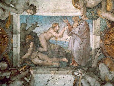 Creation of Eve / Michelangelo /  c. 1510 #Michelangelo #Buonarroti #weewado #woman #man #renaissance #old