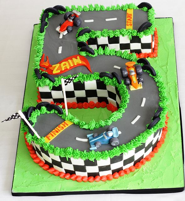 Hotwheels Styled Race Car 5th Birthday Cake Race Car Party