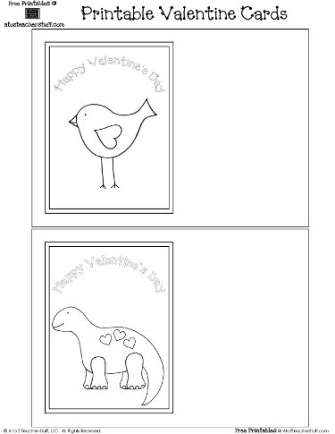 printable valentine s day cards to print and color features a lovely bird and friendly dinosaur. Black Bedroom Furniture Sets. Home Design Ideas