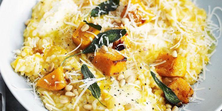Ριζότο με κίτρινη κολοκύθα και φασκόμηλο