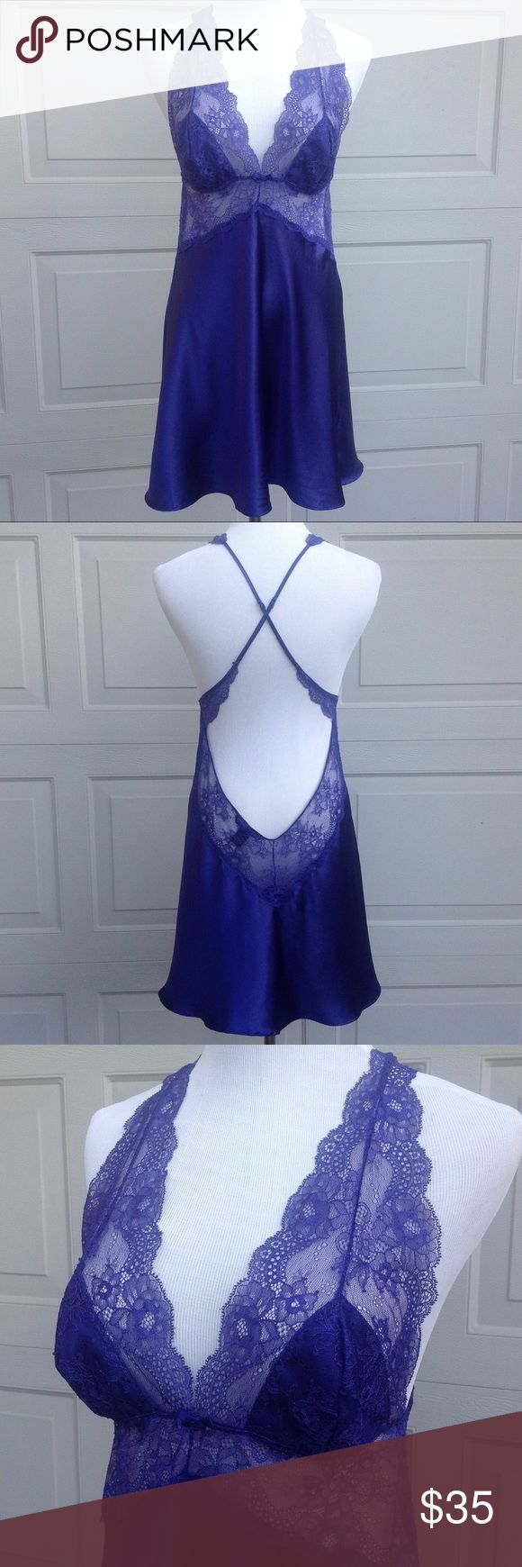 Victoria's Secret Purple Lace and Satin Nightie-L Lace straps, deep V, lace bodice with lined cups, deep dip in back with adjustable cross straps. New condition Victoria's Secret Intimates & Sleepwear Chemises & Slips