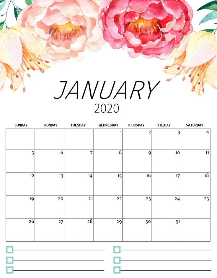 Cute January 2020 Calendar With Notes   Calendar ...