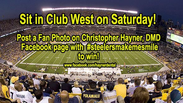 Win #steelers tickets for this saturday! just post a photo on their facebook page - www.facebook.com/haynerdental