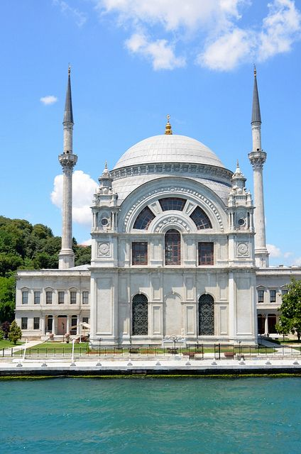 This is the Dolmabahce mosque in Istanbul , Turkey. This mosque dates all the way back to the Ottoman Empire. I visited this mosque and I was amazed by the Islamic architecture and art.