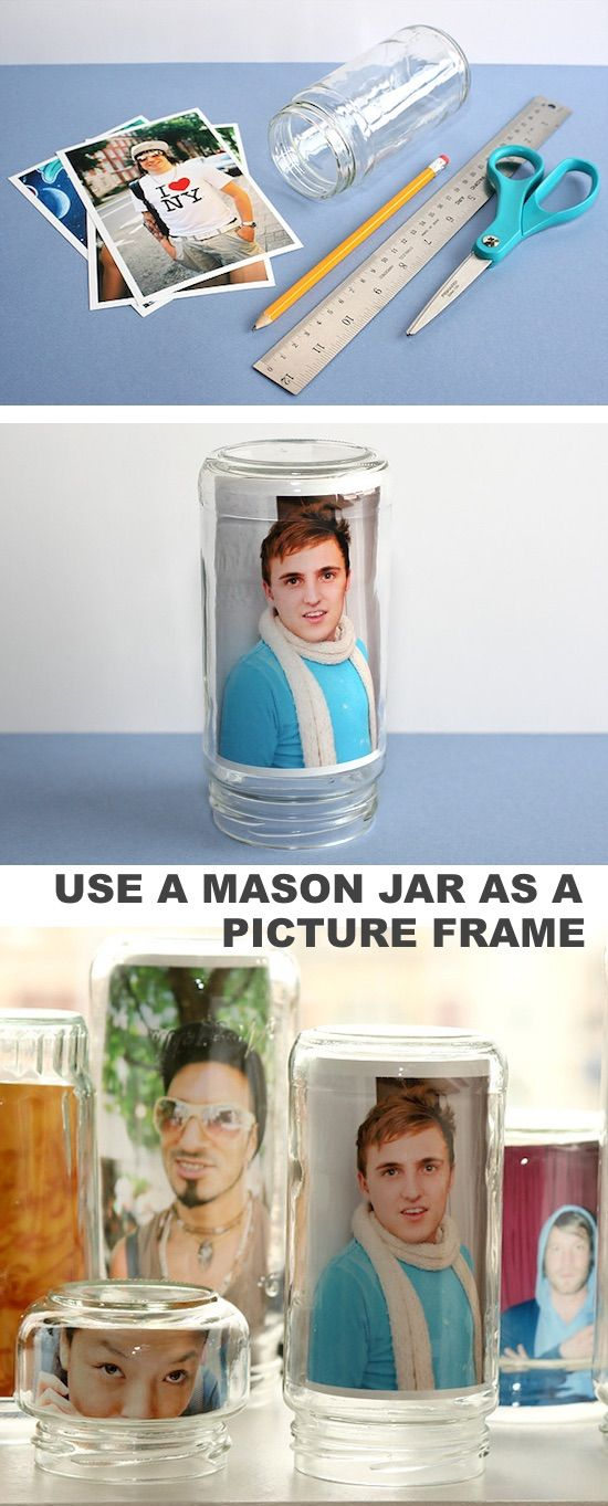 Use a mason jar as a photo frame! -- DIY mason jar crafts and ideas for Christmas, holidays, gifts, home decor and more! Kids and teens love these projects! Listotic.com
