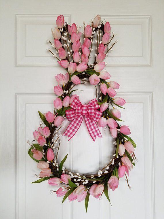 Easter Bunny Wreath Spring Wreath Tulip Spring Wreath Easter Decor Pink Tulip Wreath Spring Door Wreath Easter Wreath Bunny Wreath