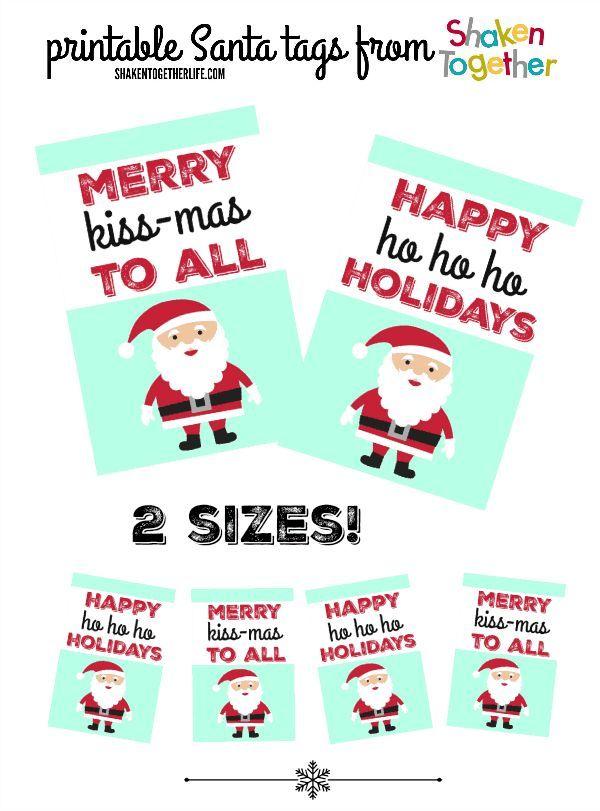 Santa Hershey Kiss Gift Tags Hershey Kisses Gifts Santa Gift Tags Gift Tags Printable
