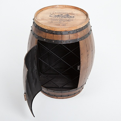 Wooden Barrel Table with Inner Wine Rack