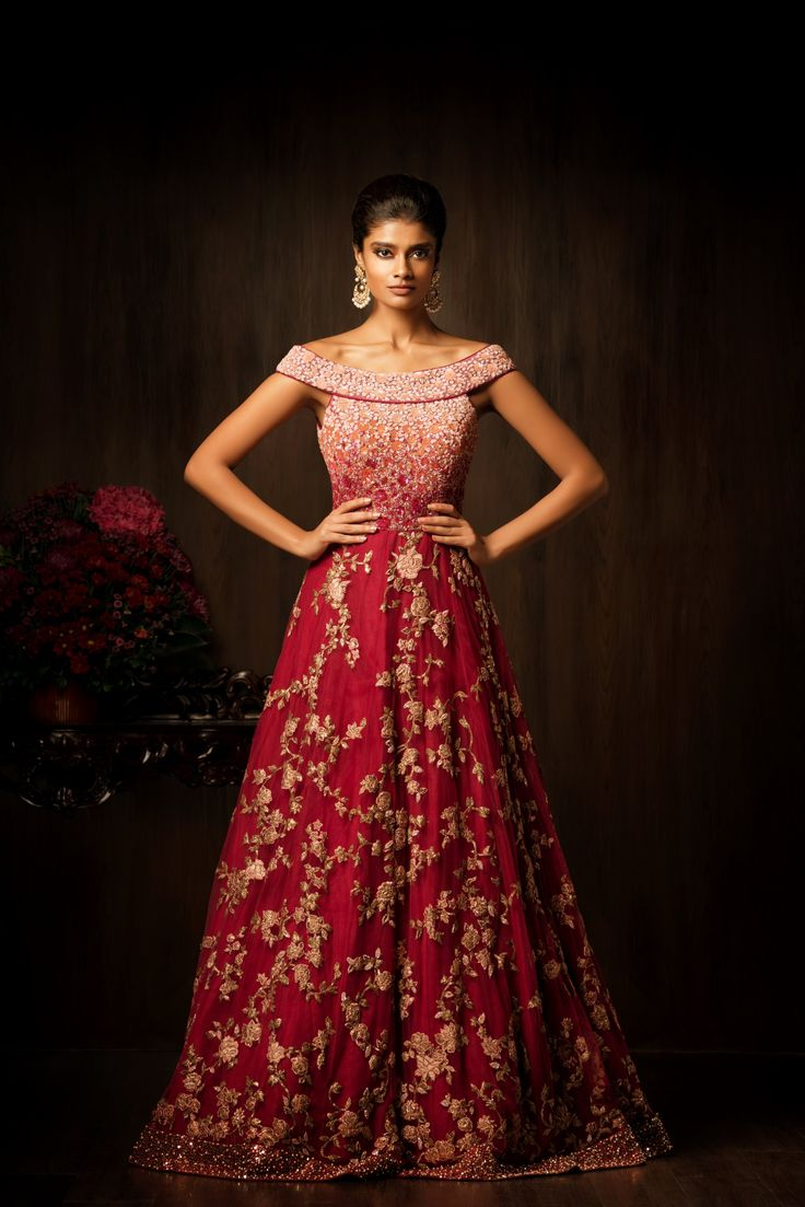 Named Jarul, This amarant purple gown has a fully encrusted bodice with resham…
