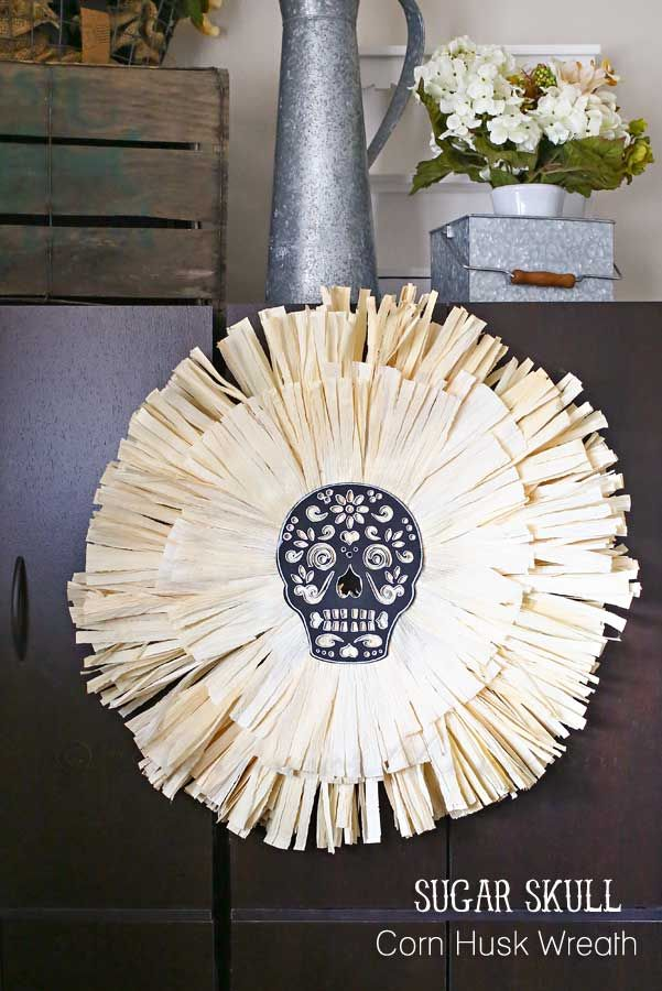 Sugar Skull Corn Husk Wreath: