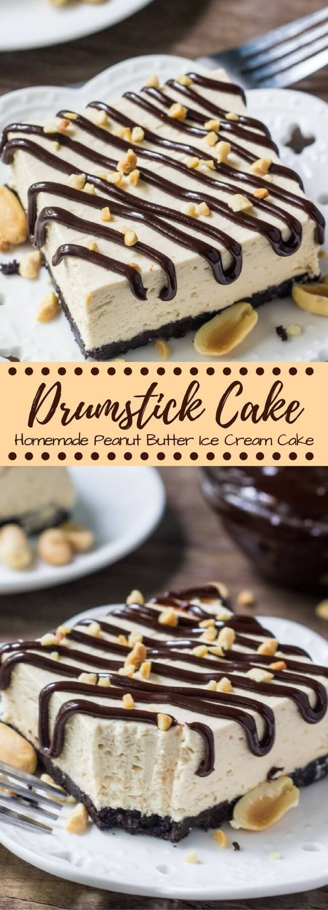 Drumstick cake is an easy, homemade, no bake peanut butter ice cream cake with all the flavor of drumstick ice cream cones. With an Oreo crust, fudge sauce & peanuts - if you love buster bars you definitely need to try this!
