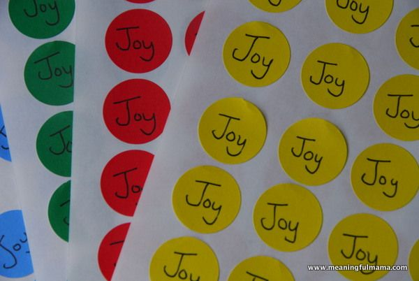 "Joy is Contagious Game! (Kids tag as many kids as they can with their assigned color 'joy' sticker. When time is up, count attached stickers to see who was able to spread the most joy.) Bible verse: ""For I have derived much joy and comfort from your love, my brother, because the hearts of the saints have been refreshed through you."""