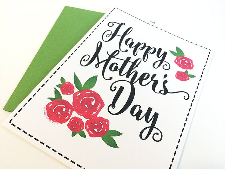 Mother's Day Card - Happy Mother's Day Card - Mother's Day Gift Card - Rose Mother's Day Card - Watercolor Greeting Card For Mom - Red Roses by PaintTheDayDesigns on Etsy