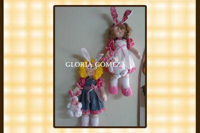 muñequería: andrea y su conejo, muñequita porta moñas, cocinerito