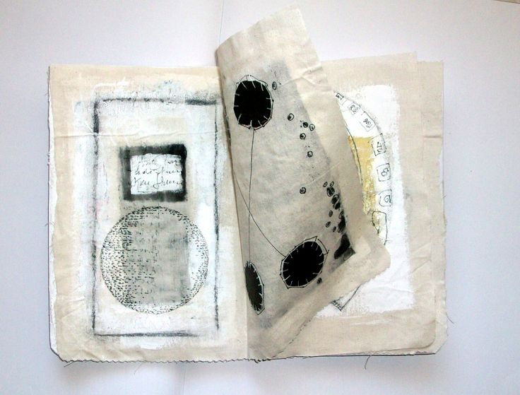 Ifigeneia Sdoukou/ Unique artist book/ textile linen, cotton thread, acrylic color, ink, pencil.