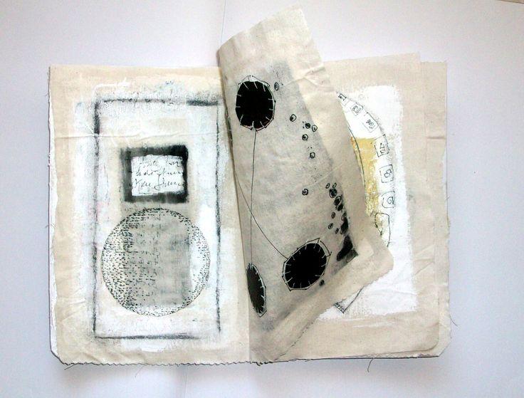 Ifigeneia Sdoukou/ Unique artist book/ textile linen, cotton thread, acrylic color, ink, pencil.