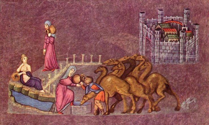 """Eliezer und Rebekka (""""Wiener Genesis"""", Syrien, 6. Jh.)"""