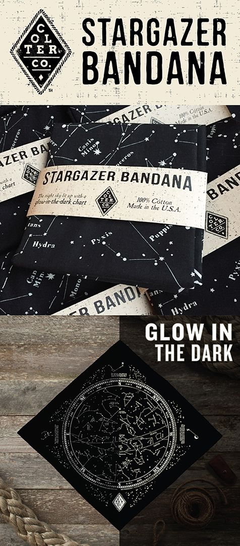 Get 15% OFF when you sign up for our newsletter.  ------------------------- Whether stargazing or navigating, this bandana should be in your back pocket. It shows the summer night sky with bright glow in the dark ink so your eyes don't need to readjust to the night sky when you look up from your chart. It also has a few tips for quick ways to navigate using celestial bodies.   Made and printed in the U.S.A. on 100% cotton.
