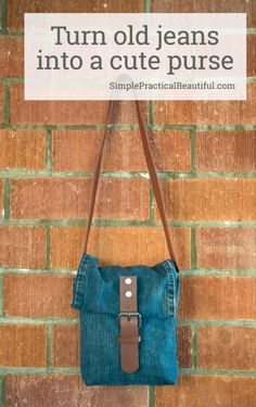 Repurpose an old pair of jeans and a worn out belt into a jean purse with just a little sewing | Easy DIY | upcycled jeans bag | reuse old clothes