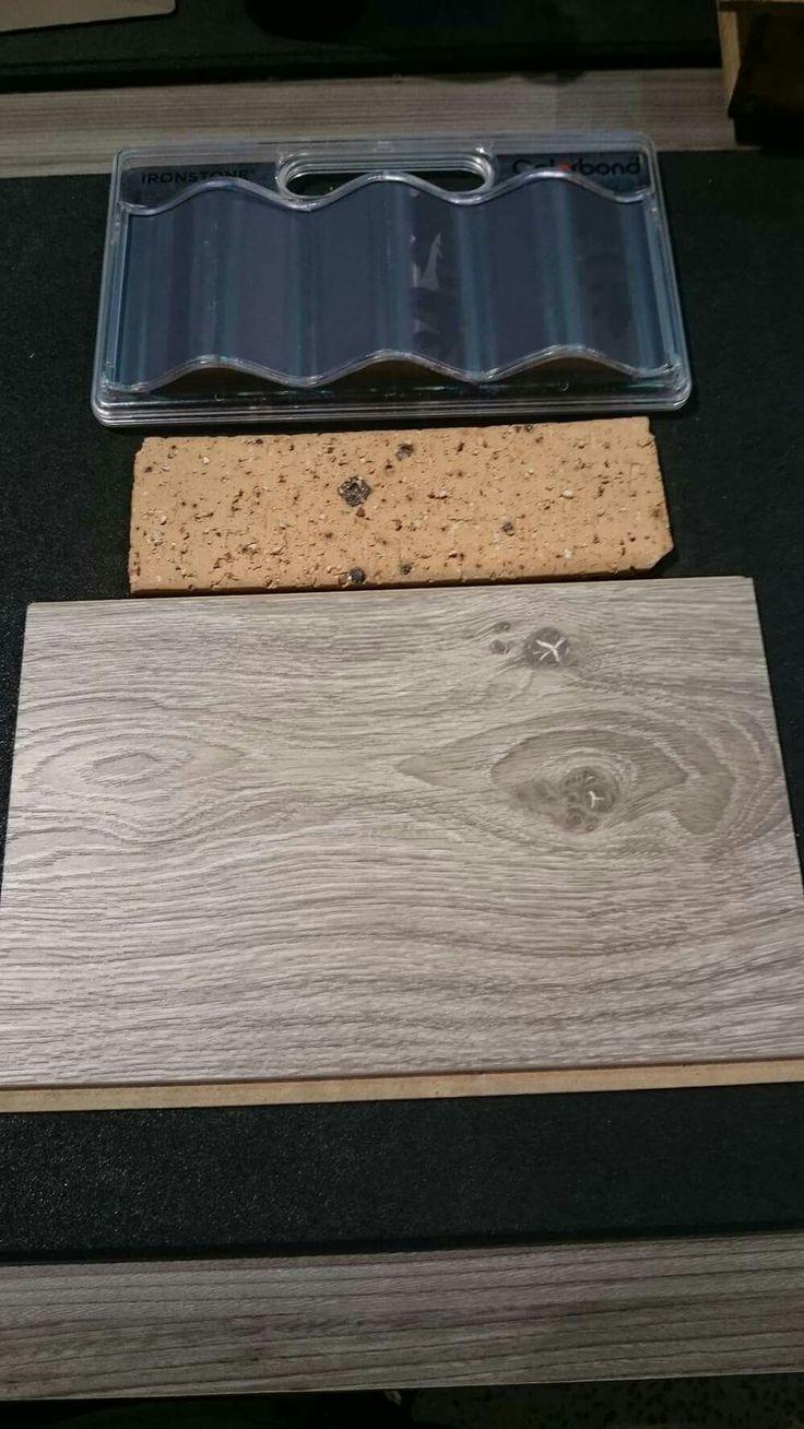 Porter Davis ironstone colourbond, homestead buff brick and dusty stone bolero laminate floor boards
