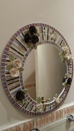 Round mirror - mosaic directly onto the mirror using silicone as the adhesive.
