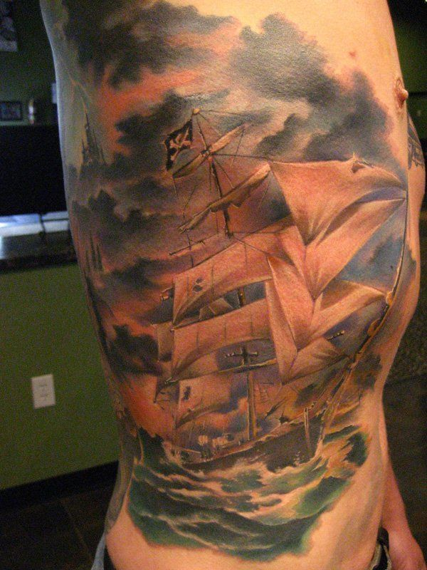Pirate ship - 40 Boat Tattoo Designs  <3 !
