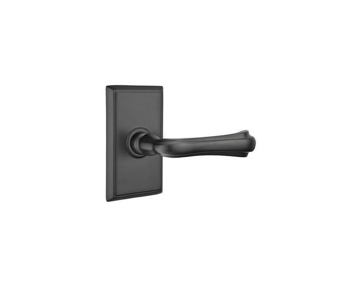 Emtek C820WM Wembley Brass Modern Privacy Door Leverset with the CF Mechanism Flat Black Leverset Privacy