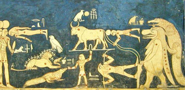 In the other panel we have the circumpolar constellations in the central part between two series of gods and goddesses walking to the center of the picture: